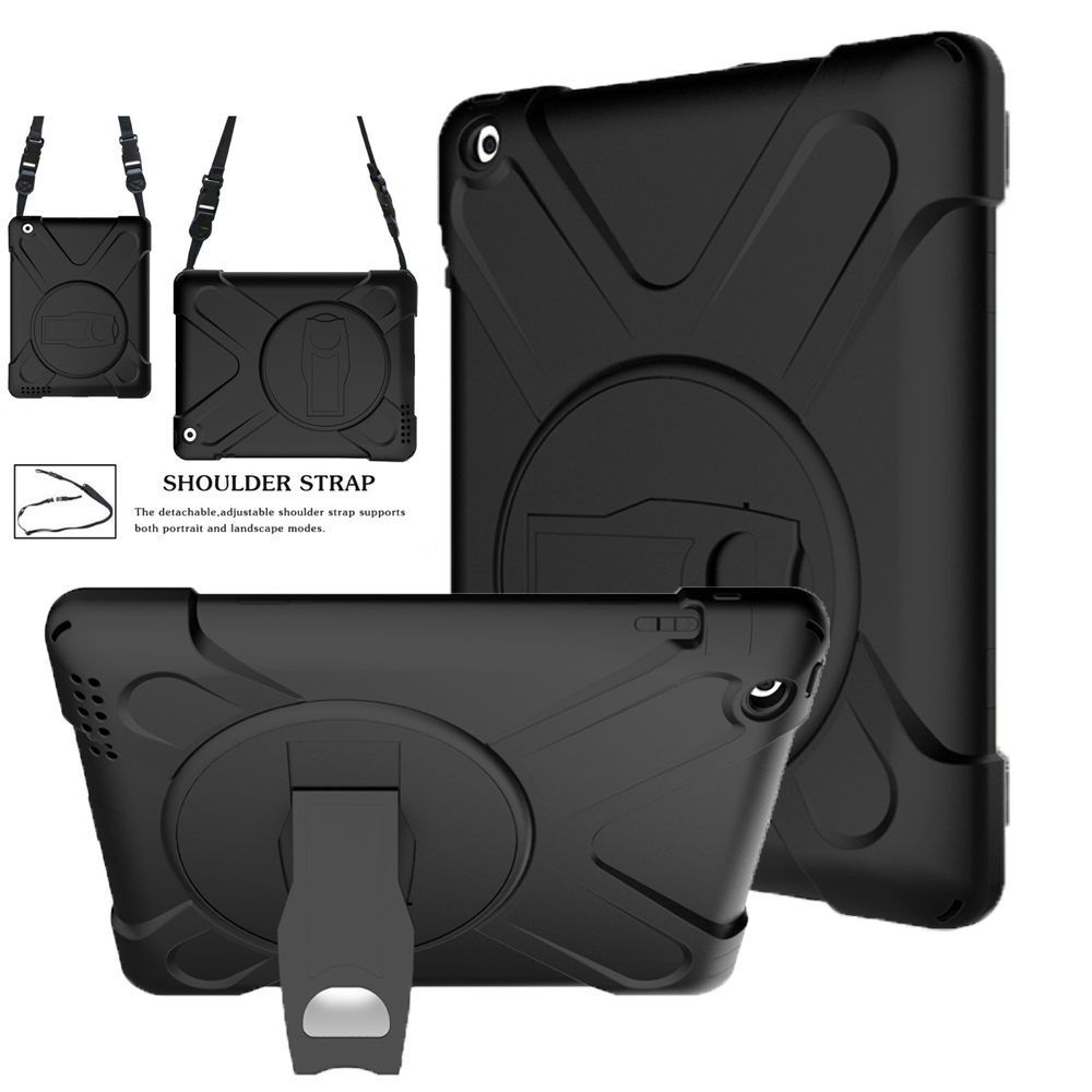 For Apple Ipad 2 3 4 Ipad 3 Ipad 4 Kids Case Heavy Duty Shockproof Armor Skin Silicon+PC Rubber Stand Back Cover Shoulder Strap