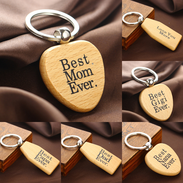 Wooden Keychains Keyrings Mothers Fathers Gifts NANA Key Chains For Her Birthday Gift Day
