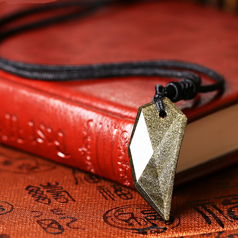 Natural Gold Obsidian Wolf Tooth Pendant Necklace Fashion Jewelry Vintage Inspired Spike Amulet Pendant With Chain For Men Women