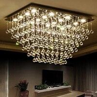 Modern LED Clear k9 Crystal Chandelier Livingroom Hanging Lamp Rectangle Design Bedroom Hall Chandelier Lighting Fixture Lamps