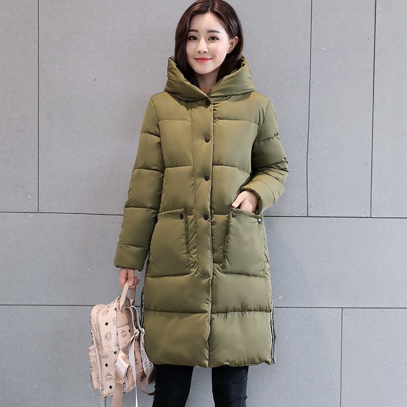 New Hooded Thick Warm Cotton Padded Parka Slim Outerwear Casual Winter Jacket Medium-long Wadded Female Winter Jacket TT3314 four flowers print warm thick cotton padded long coat autumn new casual slim jacket women winter casual outerwear