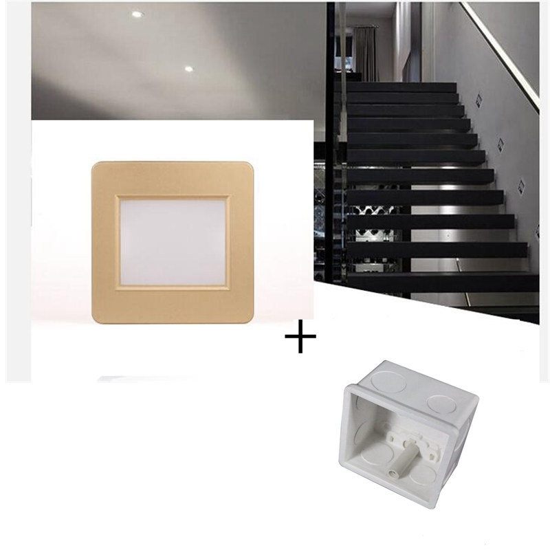 Radar Sensor LED Stair Light 100V-240V 1.5W Square Recessed Step Lamps With Light Sensor Footlight Corner Wall Lamp with 86 box new design 86 embedded foot lights corner stair step led wall footlights lamps wall switch