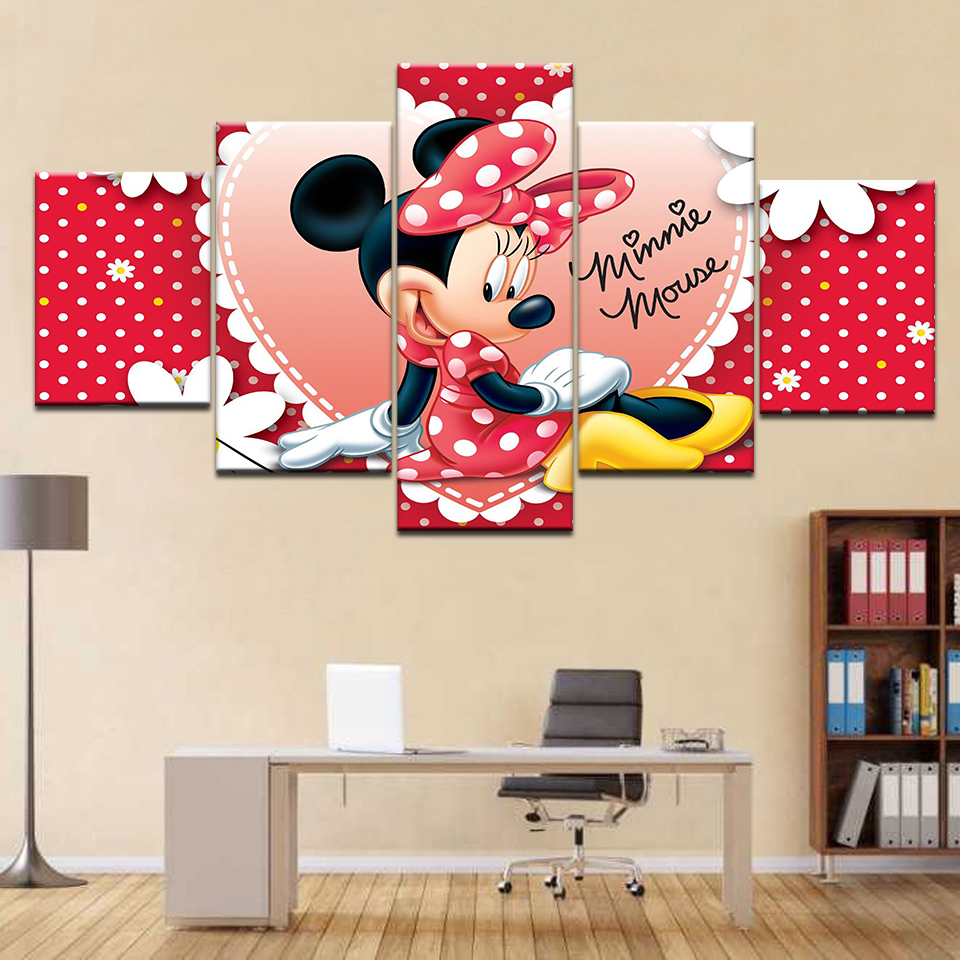 frame 5 Panel Minnie Mouse Painting Canvas On The Wall Picture For Childrens room Home Decor Modular Picture Art Cartoon Poster