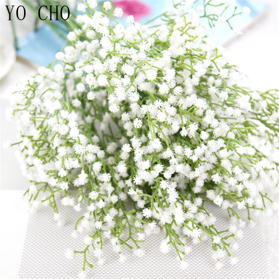 YO CHO Bride Wedding Bouquet Bridesmaid Babysbreath Bouquets White Purple Artificial Flower DIY Wedding Table Center Accessories