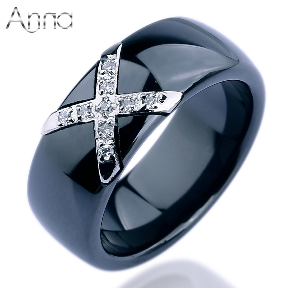 A N Factory Price Fashion Rings Jewelry Female White Black Ceramic Boho Rings With Inlaid Crystal