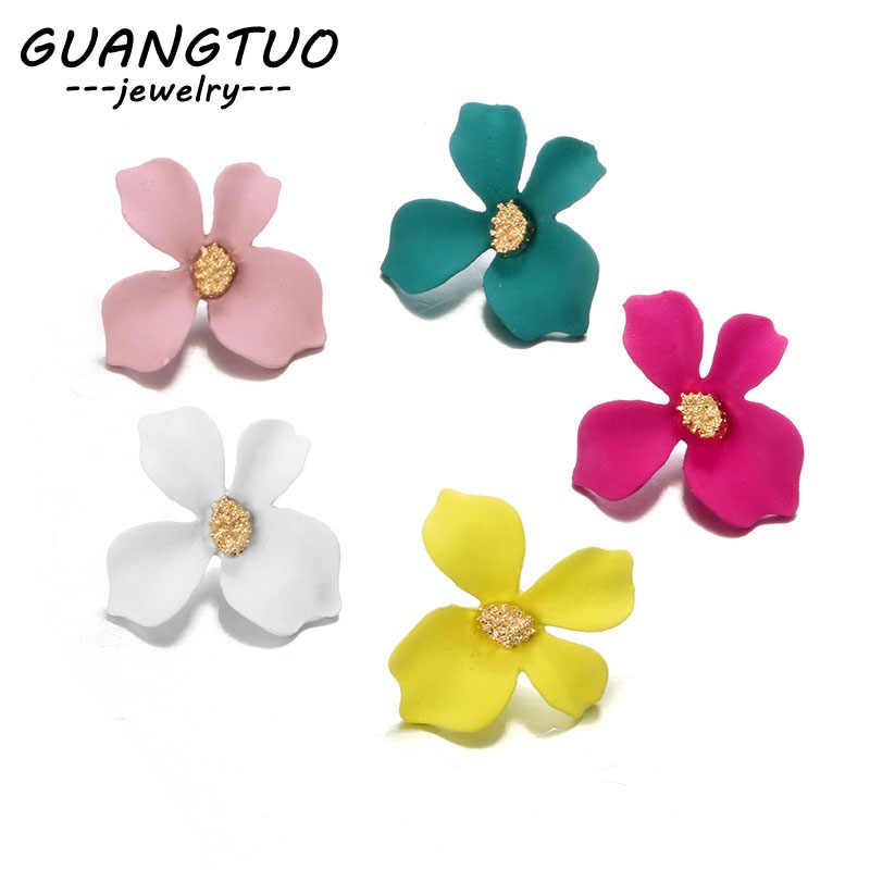 5 Colors Spray Paint Flower Stud Earrings For Women Fashion Ear Jewelry Korea Sweet Lovely Brincos With Irregular Petals EB842