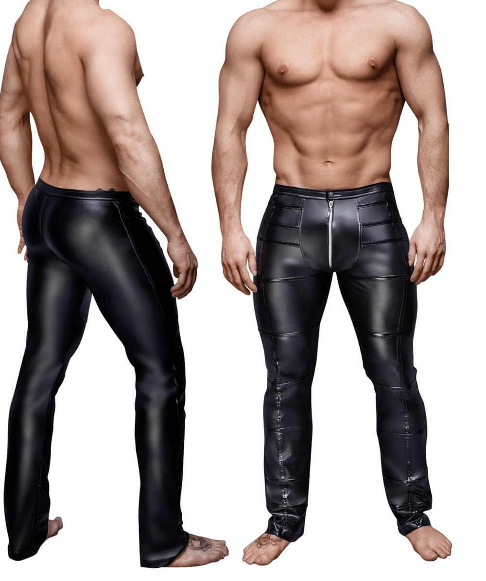 702859aca337 High Elastic Mens Black Faux Leather Latex Leggings Wetlook Clubwear Zipper  Bondage Exotic Pants Gay Club