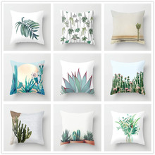 Cactus Cushion Cover Peach Skin Green Plant Pattern Decorative Pillow Covers Living Room Decor for Sofa Bedroom Home Accessories цены