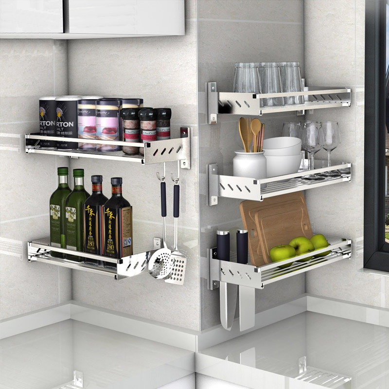 Cookware:  304 Stainless Steel Kitchen Storage Holders Racks Pantry Cookware Spice Shelf Rack with Hooks Wall Hanging Kitchen Organizer - Martin's & Co