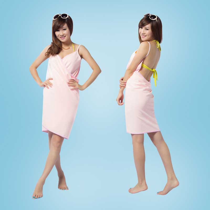 Women Microfiber Bath Towel Sling Bathrobe Body Spa Shower Wrap Towels Super Absorbent Bath Gown Solid Color Bath Towel Toalla