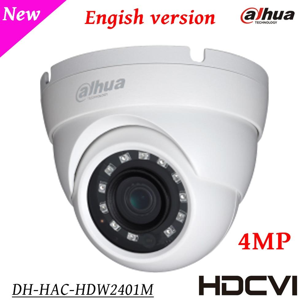 Dahua 4Mp Security Camera HAC-HDW2401M HDCVI WDR IR Eyeball Camera HD and SD dual-output 3.6mm fixed lens Indoor/Outdoor IP67 dahua 4mp wdr hdcvi bullet camera hac hfw2401e lens3 6mm max ir40m waterproof ip67 cctv security camera