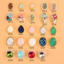 Japanese Trend Nail Jewelry Style 100pcs Latest Metal Bezel Pearl Ore Crack Stone Design 3D Art Alloy (2209-2232)