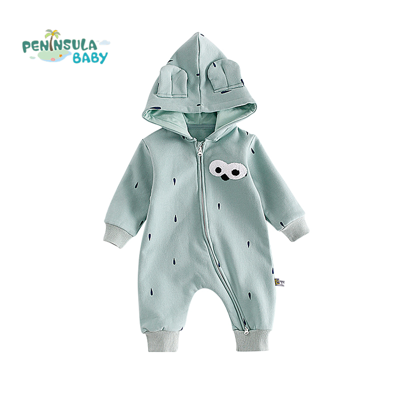 2017 Winter Baby Rompers Long Sleeves Hooded Jumpsuit Cotton Infant Coveralls Newborn Baby Boy Girl Clothes Baby Clothing 2016 newborn baby rompers hooded winter baby clothing bebethick cotton baby girl clothes baby boys outerwear jumpsuit infant
