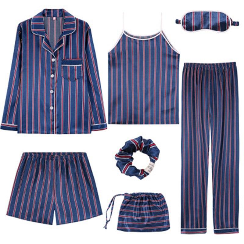 Sexy Striped   Pajamas     Set   Women Silk Rayon Summer Pyjamas Female Long Shirt Pants Stitch Lingerie Home Sleepwear