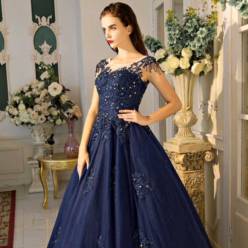 5cb70d51b9 Navy Blue Mother of the Bride Dresses for Weddings Beaded Lace A Line  Evening Gowns Groom Godmother Dresses