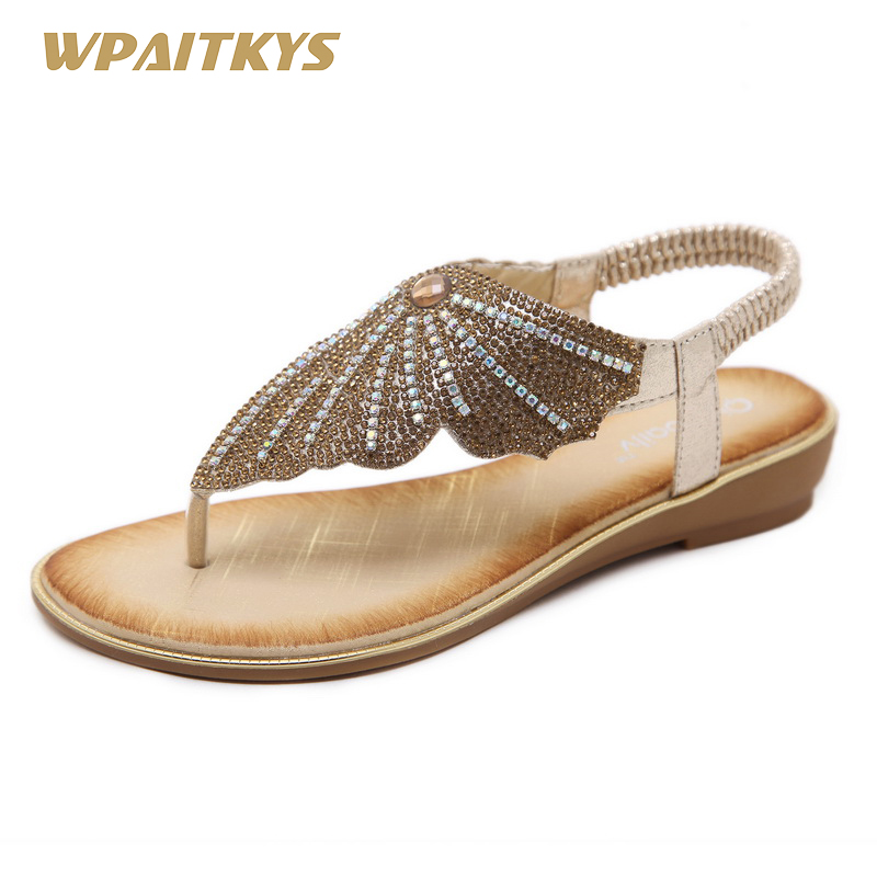 2018 Exquisite Female Sandals Black Golden Two Colors Available Rhinestones  Metal Wedding Shoes Woman Large Size Shoes