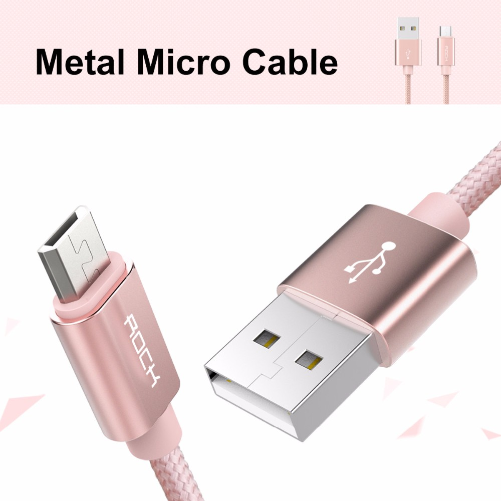 ROCK Metal Nylon Braid Micro USB Cable for Samsung Xiaomi Meizu Huawei HTC  USB Cable Alloy Data Charging cable