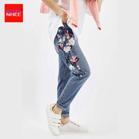 Women 3D Embroidery English Jeans With High Waist Plus Size Wash Straight Female 2017 Ladies Blue