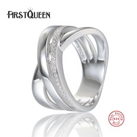 FirstQueen 100 Authentic 925 Sterling Silver High Polishing Finger Ring With Zircon For Woman Sterling Silver