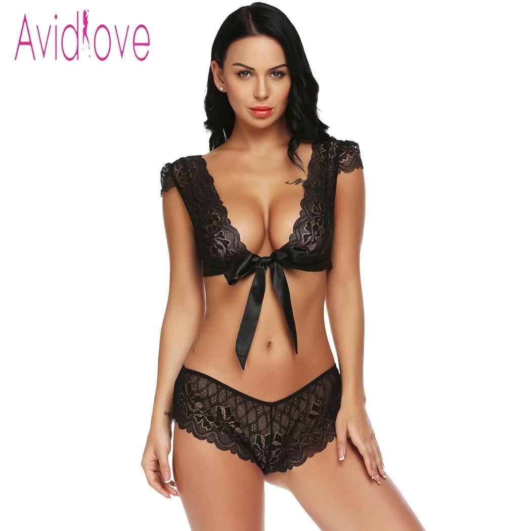 a4fae91f1da Avidlove Women Sexy Lingerie Set Sleepwear Nightwear Costumes Babydoll  Unlined Sexy Lingerie Lace Bra Bralette Set
