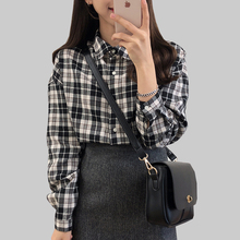 Long Sleeve  Plaid Shirt Women 2019 Black And White Blouse Cotton Cosual Button Korean Fashion Womens Clothing Tops Plus Size