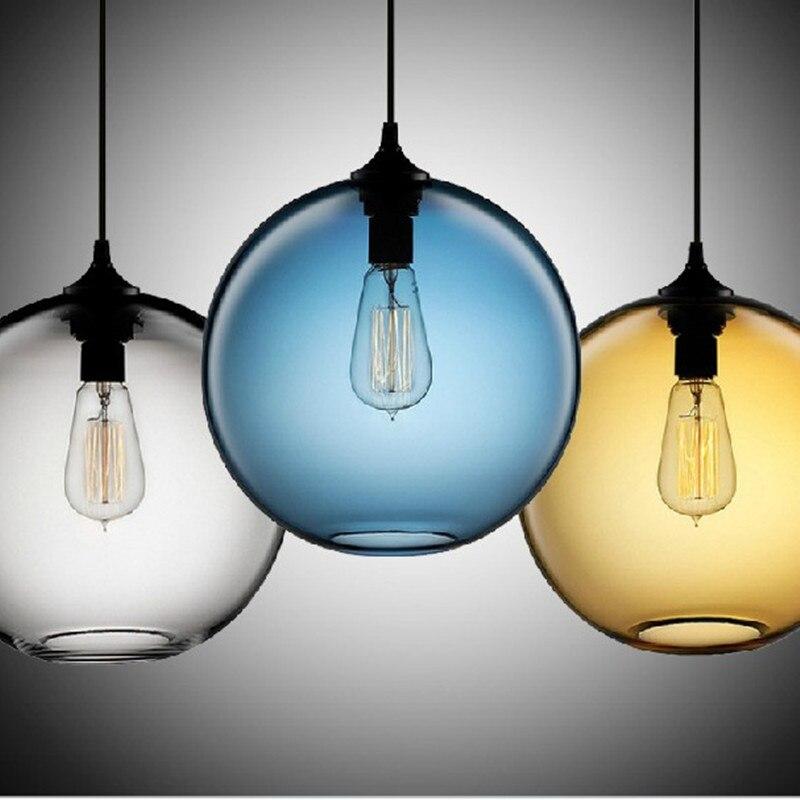 Modern pendant light colorful ball glass vintage sitting room lamp bar dining cafe shop decoration LED light fixture AC110-265V