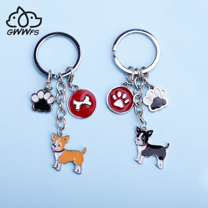 2019 DIY Lobster Clasp Pendant Women Jewelry Chihuahua Dog Key Chain Key Ring Pom Gift For Best Friend Bag Charm Animal Keychain