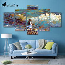 Modern Wall Art Pictures Home Decor Posters 5 Panel Girl and Sea oil paint Living Room HD Printed Painting Frame(China)