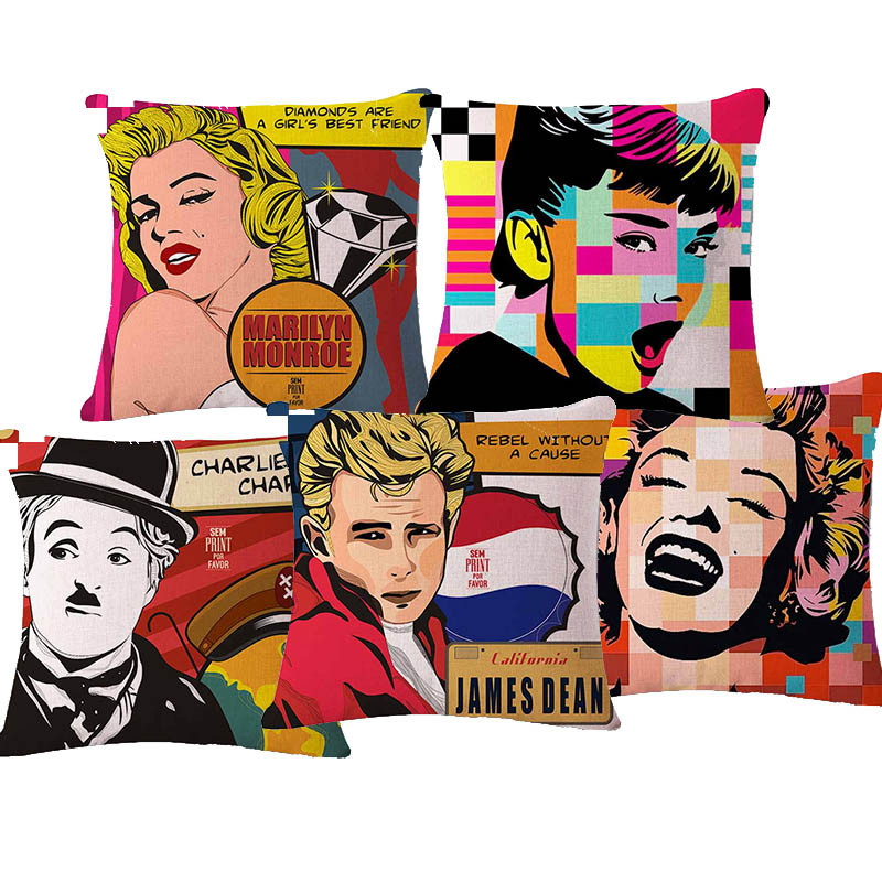 Vintage Audrey Hepburn and Marilyn Monroe Home Decor cushion Cover Linen Cotton Pillow Case Sofa Cushion Decorative Throw Pillow