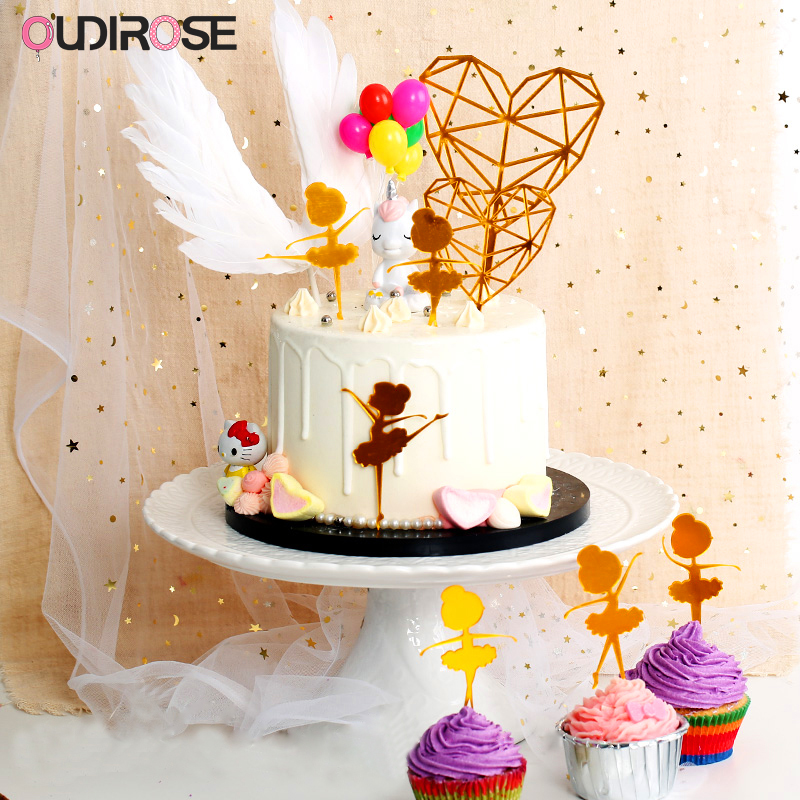 Us 1 4 5 Off Angel Wings Feather Cake Topper Acrylic Heart Cake Decorations For Baby Happy Birthday Wedding Party Supplies Baking Accessoires In