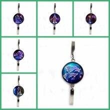 Fashion Retro 12 Constellation Pattern Glass Silver Bracelet Charm Men and Women Decorations Gift Cute