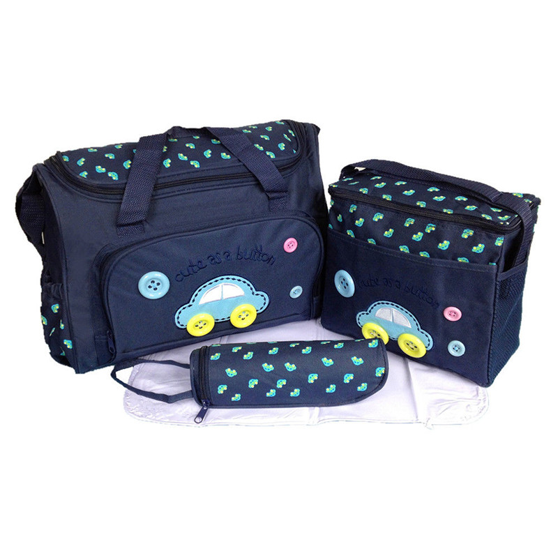 4pcs Set Baby Food Storage Floral Yummy Mummy Maternity Baby Nappy Diaper Bag Wipe Casual Zipper