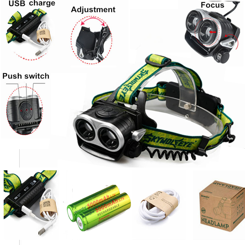 6000 Lumen Headlamp 2x XM-L T6 LED Head Lamp Light Lantern Flash Light+2x18650 Rechargeable Battery+USB Cable