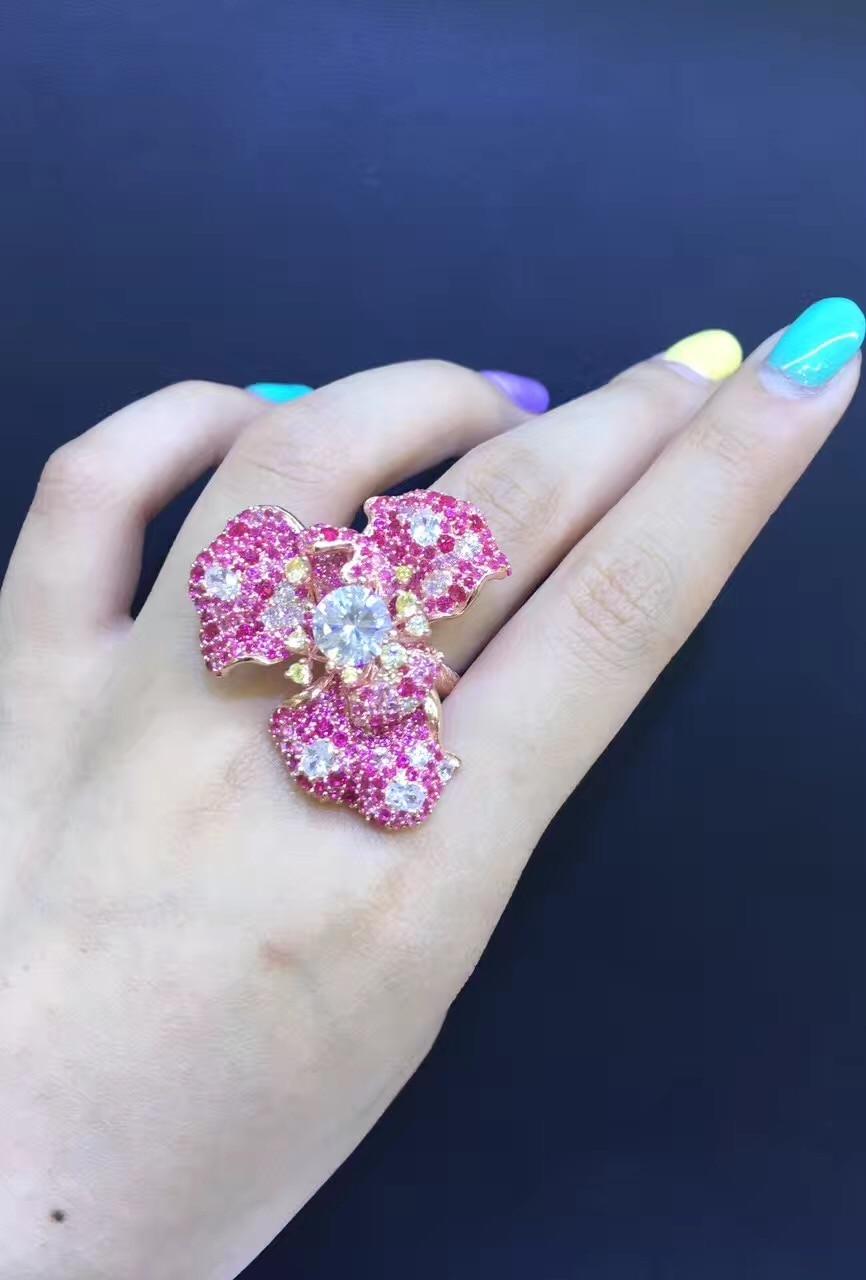 Bague Cocktail cubique zircon fleur anneau argent avec zircon cubique mignon mode femmes bijoux taille réglable livraison gratuite
