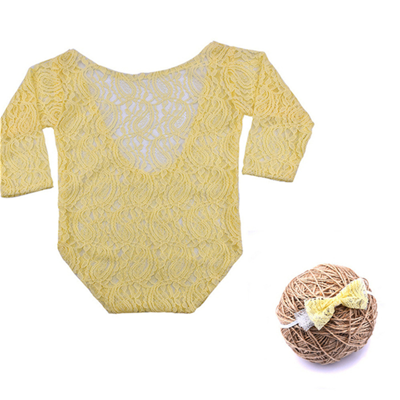 Newborn Photography Props Baby Romper Studio Photography Accessories Lace Romper Back Tie Girls Outfit Baby Romper Clothing Soft