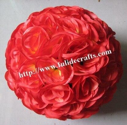 SPR 50 cm mariage boule de fleurs en soie artificielle en plastique intérieur-vin rouge-baiser boule décorations de mariage