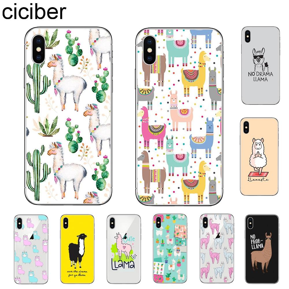 ciciber Cute Animals Llama Alpaca Cover For Apple iPhone 11 Pro Max X XR XS MAX 7 8 6 6s Plus 5S SE Phone Case Soft Silicone TPU