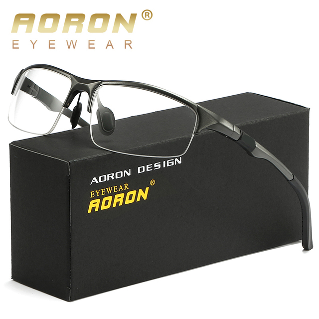 90478424b AORON Eyeglasses AL MG Spectacle FrameMen Computer Optical Eye Clear Lens  Glasses Frame For Male Transparent