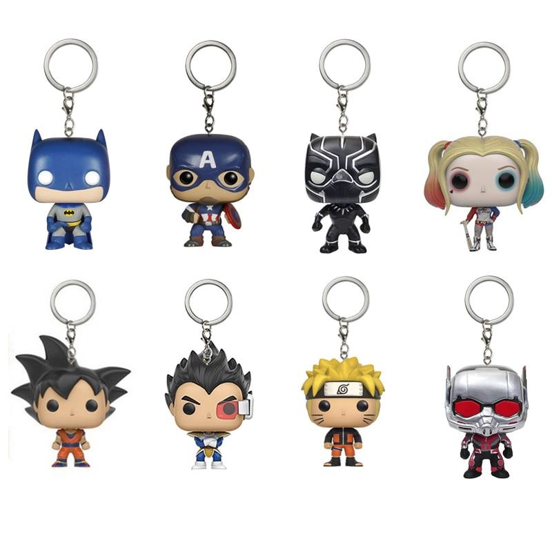 <font><b>POP</b></font> Black Panther Doctor Who Harley Quinn Batman Superman <font><b>Spiderman</b></font> DRAGON BALL Naruto Marvel Action Figure Gift Toys Keychain