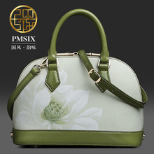 2016 summer new Lotus printing leather handbag shoulder bag shell mini packet female bag P120005-1