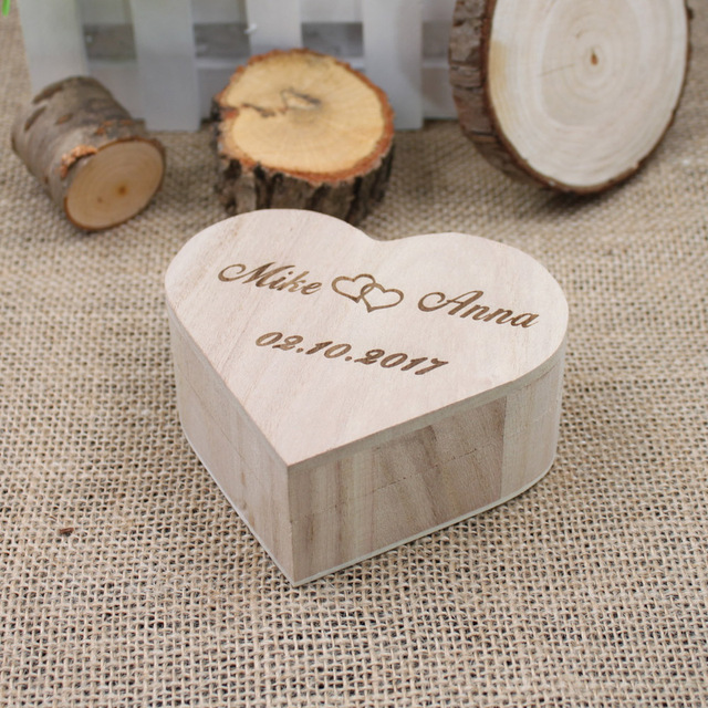Buy personalized gift rustic wedding for Heart shaped engagement ring box