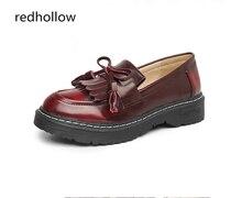 Fashion Women Shoes Oxfords Flats Platform Leather Shoes Tassel Slip-on Vintage Loafers Classic Flat Shoes for Women Plus Size43 недорого