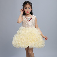 Designer Sequin Childrens Formal Dress for Wedding Flower Girl Dress Princess Beige Black Blue Pink Kids Party Evening Gowns