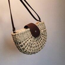 Female bag Korea foreign hemp rope hand-woven semi-circle art beach travel picture props straw moon new 2019