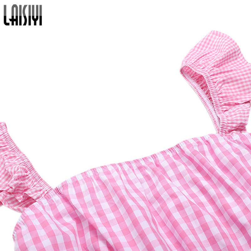 LAISIYI Trainingsanzug Frauen 2019 Sommer Kawaii Nette Rosa Tank Top Shorts Set Plaid Anzüge Rüschen Crop Top Shorts Set ASSU20130