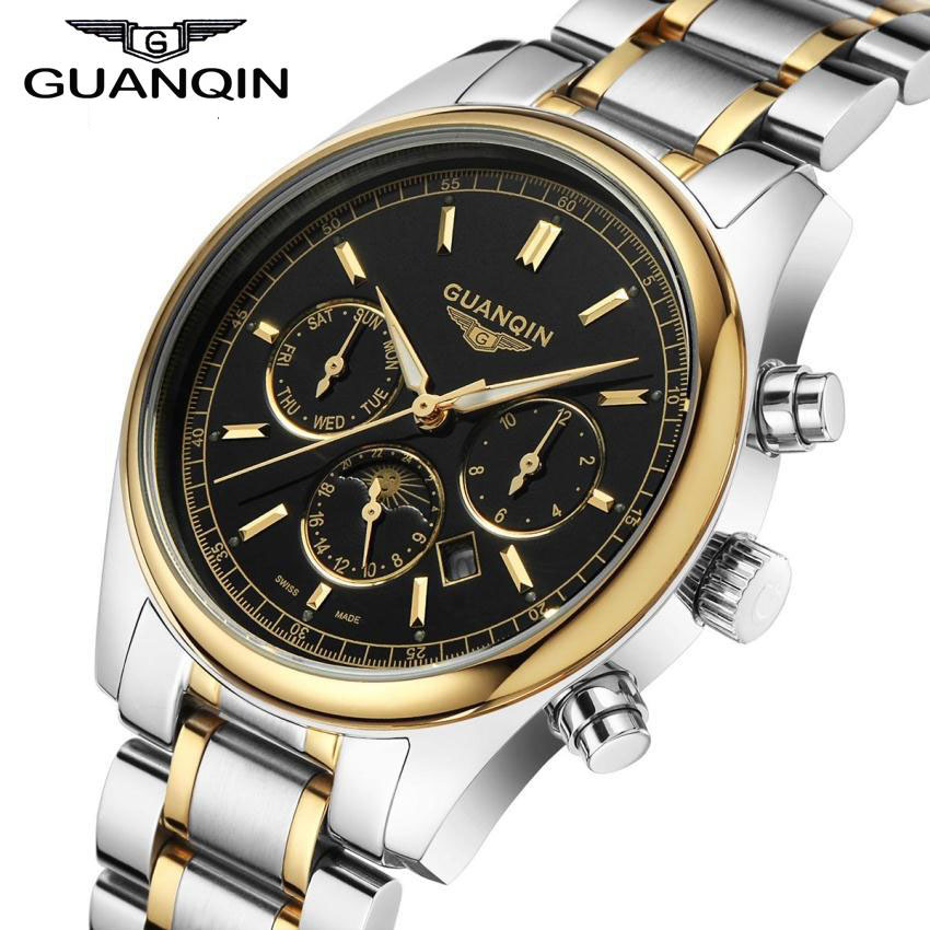 Men Watches Top Brand Luxury 2016 GUANQIN Quartz Watch Fashion Casual Waterproof Leather Belt Watches Men relogio masculino classic simple star women watch men top famous luxury brand quartz watch leather student watches for loves relogio feminino