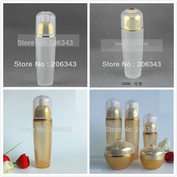 100ml frosted/yellow glass bottle with gold  press pump lid for lotion/emulsion/serum/foundation/toner skin care skin packing