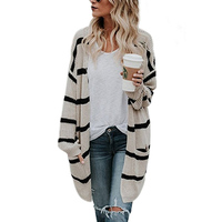R&H 2018 New Women Sweater Fashion Long Striped Knitted Cardigan Sweater Trendy V Neck Female Sweater Plus Size 3xl R&H 66616
