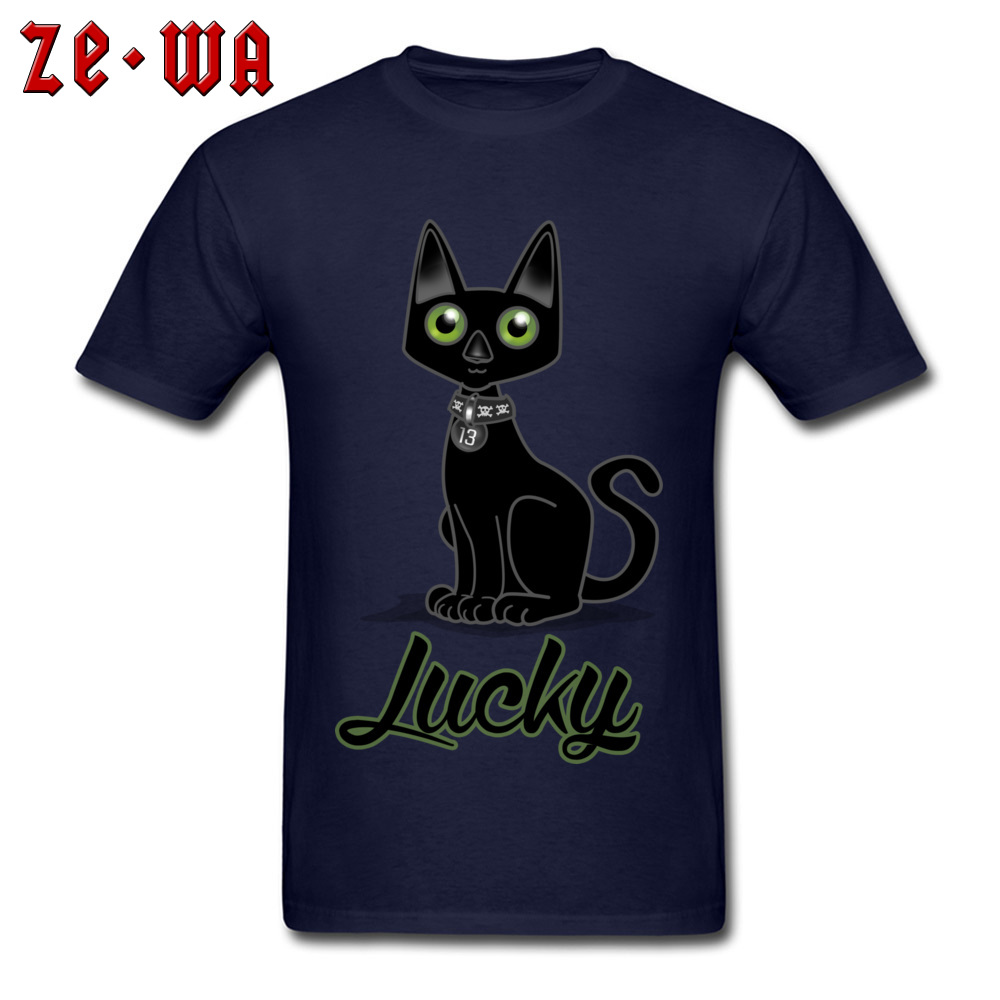 Digital Mens T Shirt Lucky 13 Cat T-Shirt Black Cat Tops Blue Summer Tshirt Unisex Store Unique Cartoon Tees Students Style