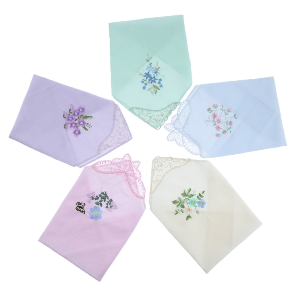 5pcs Womens Embroidered Floral Cotton Handkerchiefs Exquisite Lace Hankies Gift For Wedding Part Mother's Day Bridal Shower